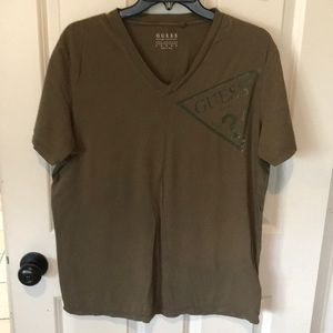 Guess Olive Green V neck tee large